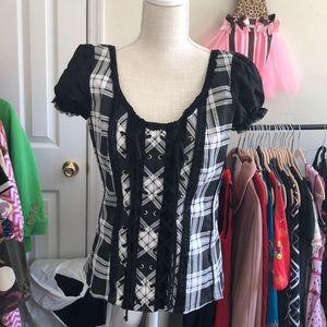 Tripp NYC pinup rockabilly corset plaid top XL